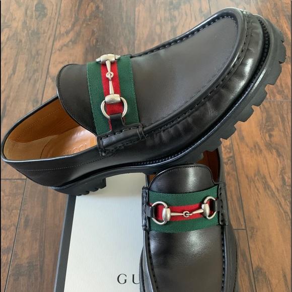 Leather Web Horsebit Loafer Size 9g